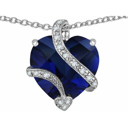 Star K Large 15Mm Heart Shape Simulated Blue Sapphire Love Pendant Necklace In Sterling Silver