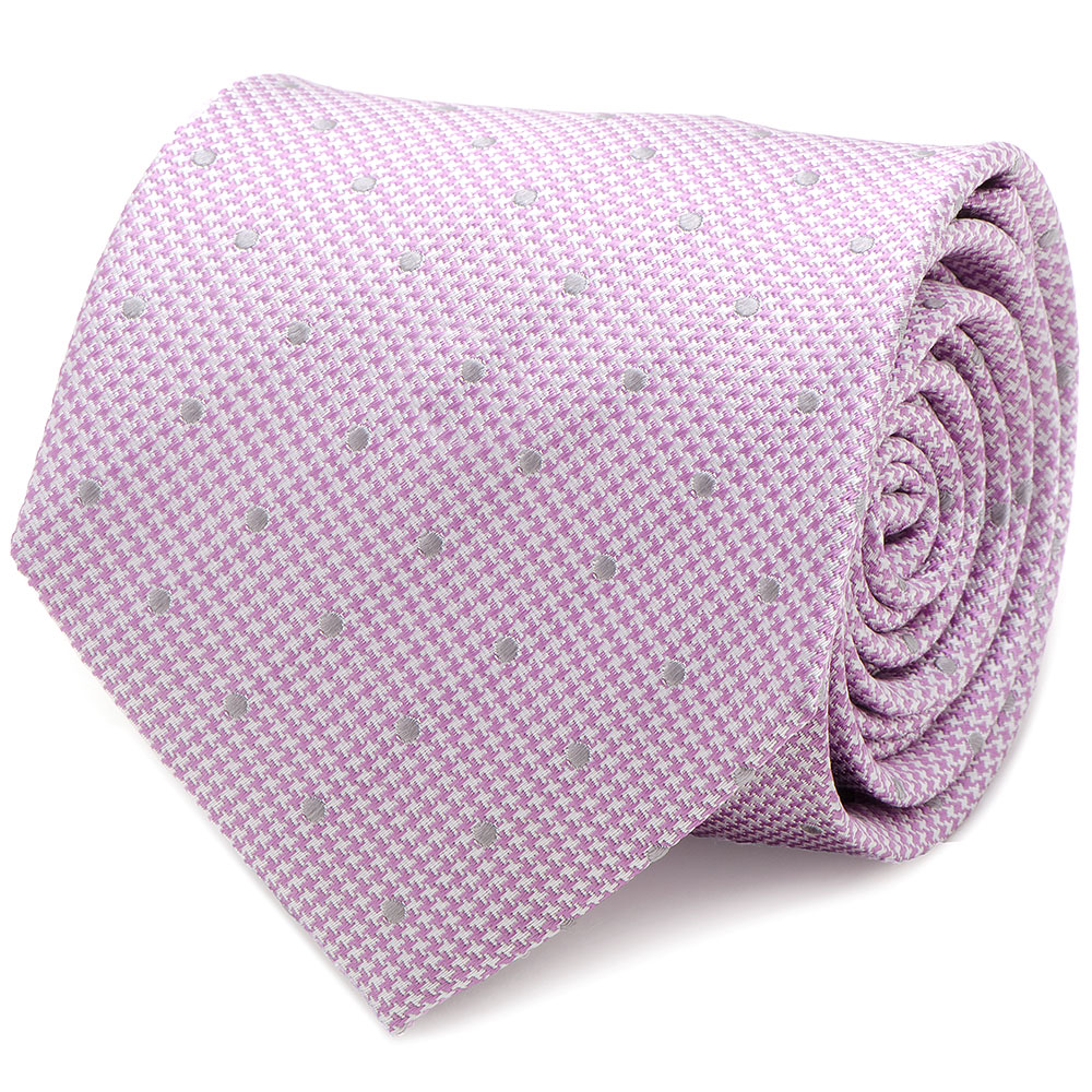 Ox and Bull Trading Co Mens Pink Dotted Herringbone Silk Neck Tie Suit Tuxedo