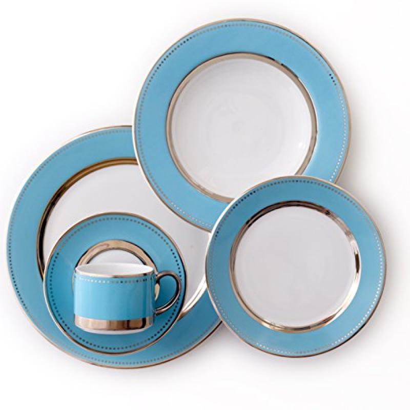 CRU by Darbie Angell Lauderdale 5 Piece Place Setting Dinnerware Set, Sea Blue/Platinum/White