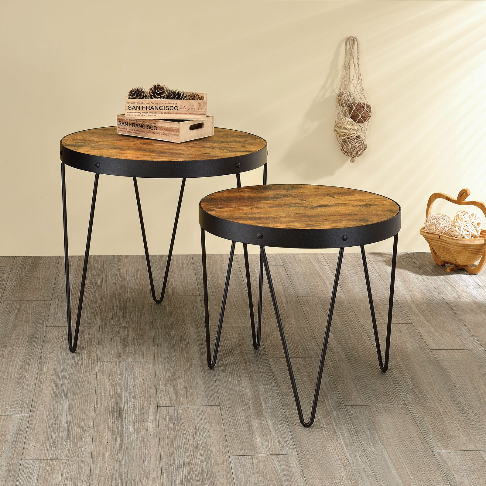 Coaster Company Accent Table, Honey Cherry, Veneer, Black Legs, Two Piece Nesting Table