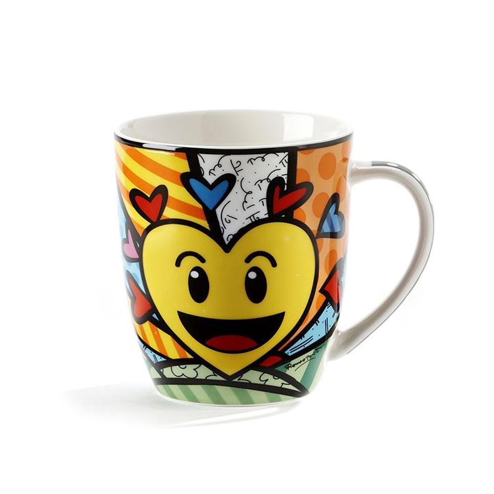 1 Romero Britto Love Mug Emoji Design Hearts Coffee Bone China Mug Love New Day by GiftCraft