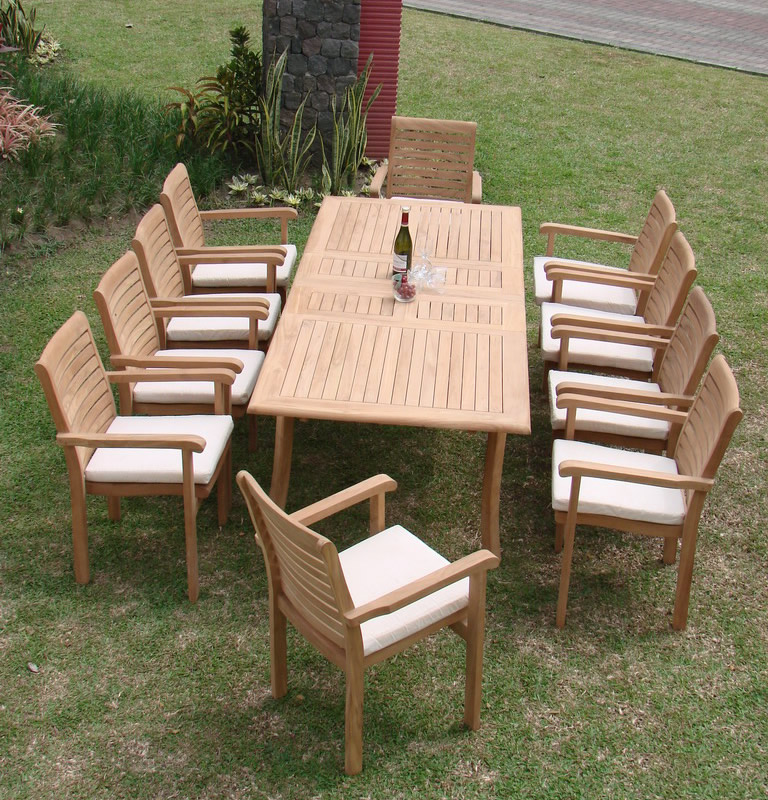 """Teak Dining Set:10 Seater 11 Pc - Large 117"""" Rectangle Table and 10 Hari Stacking Arm Chairs Outdoor Patio Grade-A Teak Wood WholesaleTeak #WMDSHRb"""