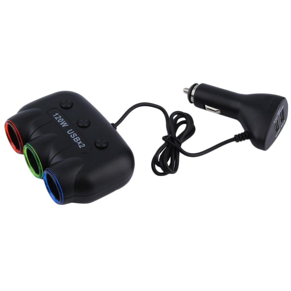 Multi Socket Auto Car Cigarette Lighter Splitter USB Adapter Charger 120W