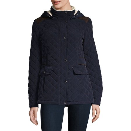Marc New York Quilted Jacket - Quilted Hooded Faux Fur Lined Jacket