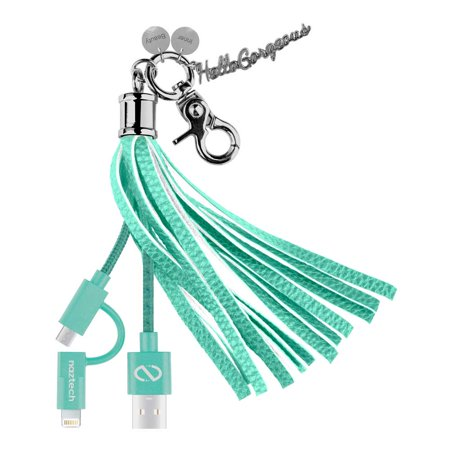 Hello Gorgeous MFI Hybrid Cable Tassel Key Chain Teal