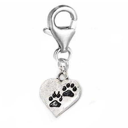 Clip on Bear Paw Heart Charm Dangle Pendant for European Clip on Charm Jewelry w/ Lobster Clasp