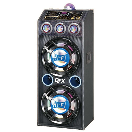 "QFX SBX-412207 Dual 12"" 4,000W Bluetooth Cabinet Speaker with Disco Light"