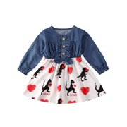 Valentine's Day Kids Baby Girl Long Sleeve Dinosaur Tutu Dress Party Clothes
