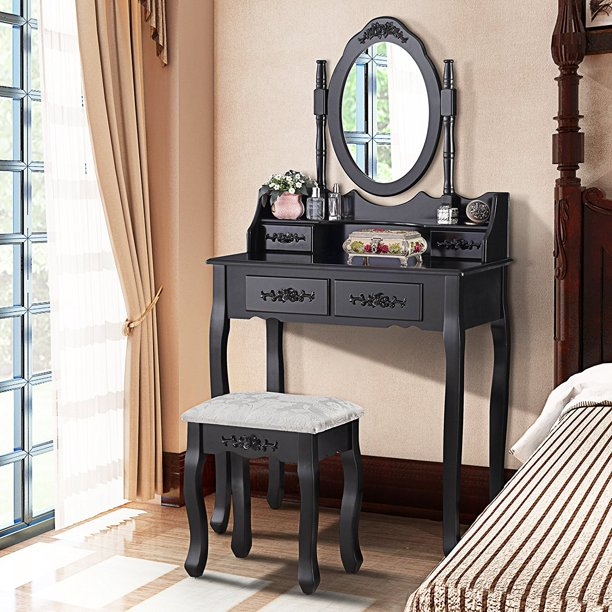 Uenjoy Dressing Table Makeup Desk with Stool,4 Drawers andl Mirror ,Black