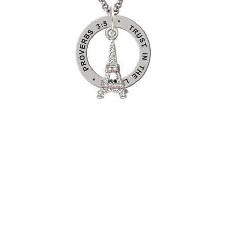 Silvertone AB Crystal Eiffel Tower Proverbs 3:5 Affirmation Ring Necklace