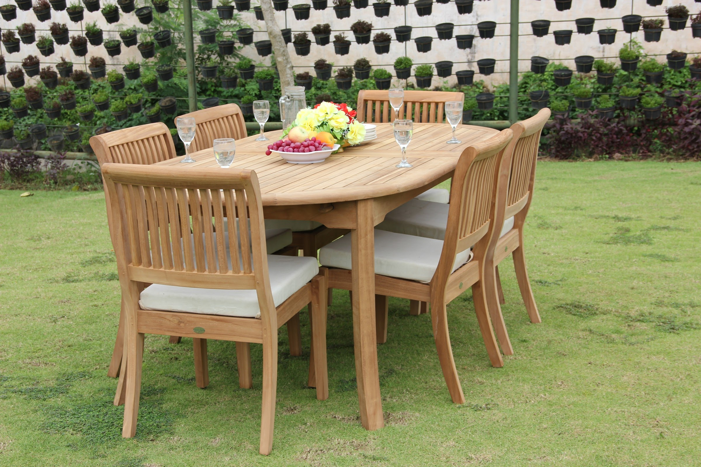 "Outdoor Dining Table 12 Seater: Teak Dining Set: 6 Seater 7 Pc: 117"" Double Extensions"