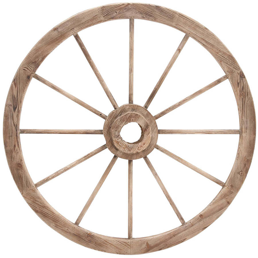 Decmode Wood and Metal Wagon Wheel, Chestnut