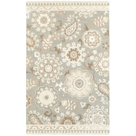 Sphinx Craft Area Rugs - 93003 Contemporary Grey Rings Loops Petals Paisley Rug 10' x 13' Rectangle