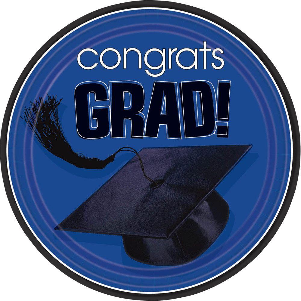 """Congrats Grad Blue 9"""" Luncheon Plates (18 Pack)- Graduation Party"""