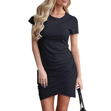 Womens Dresses Summer Casual Ruched Short Sleeve Irregular Bodycon Mini