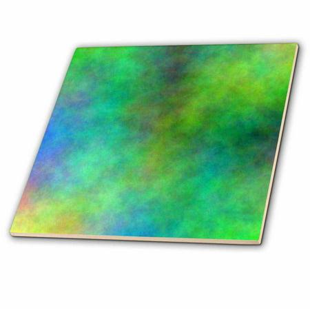3dRose Green and Blue Cloud Watercolor Digital Art - Glass Tile, 4-inch