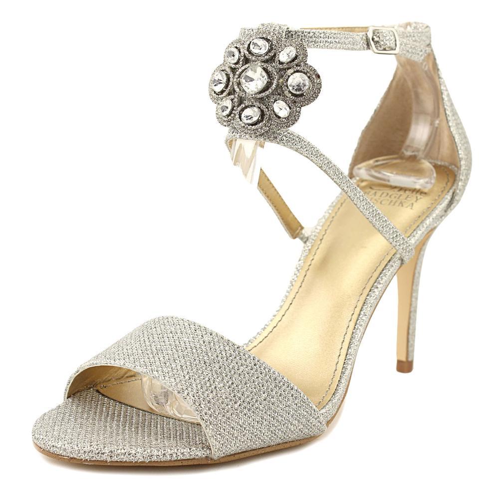 Badgley Mischka Brandy Women Open Toe Canvas Silver Sandals by Badgley Mischka