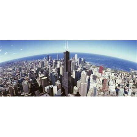 Aerial view of a cityscape with lake in the background  Sears Tower  Lake Michigan  Chicago  Illinois  USA Poster Print by  - 36 x 12 - image 1 of 1