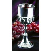 Silver Tone over Brass Wine Communion Cup with Grapes, 6 Ounce