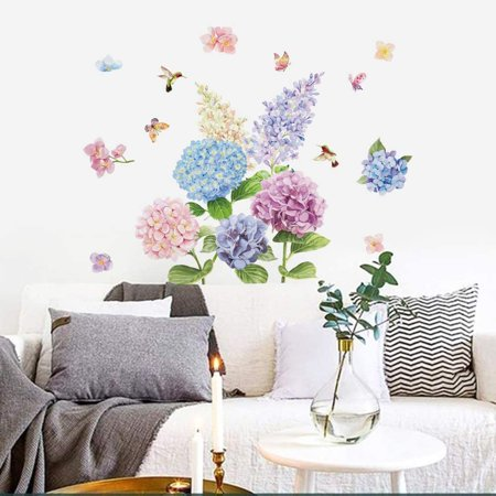 Romantic Hydrangea Flower Wall Decals, Wall Decals For Living Room