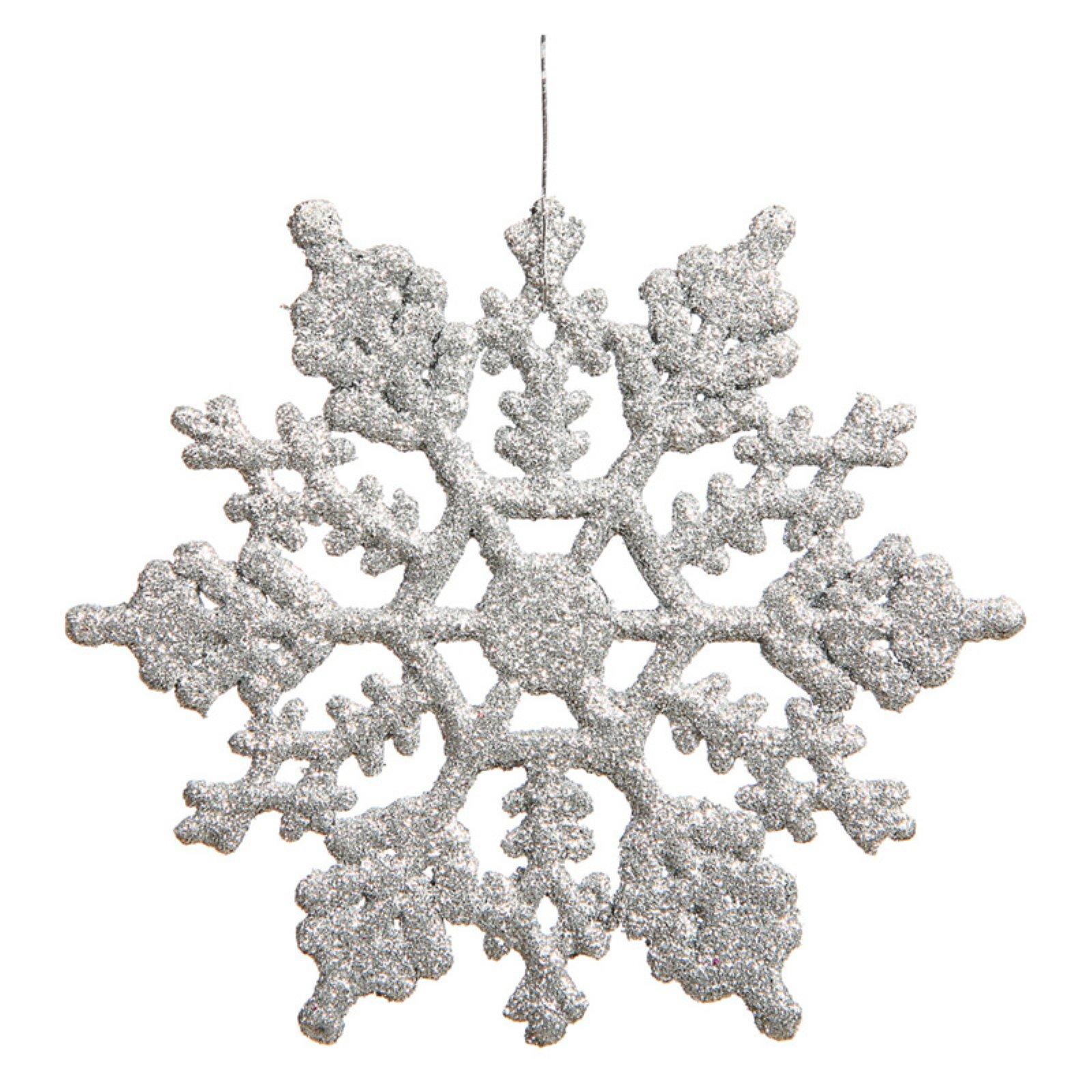 "Vickerman 4"" Glitter Snowflake Christmas Ornaments, Pack of 12"
