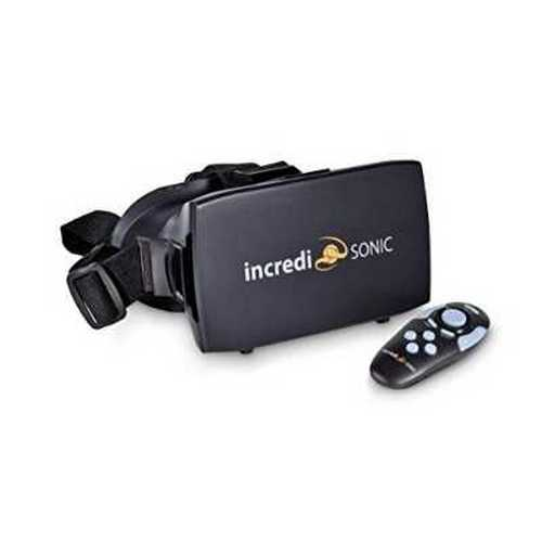 Refurbished IncrediSonic M700 VUE Series VR Glasses, Virtual Reality Headset, & Bluetooth Remote Gaming Controller, (Black)