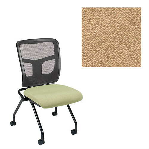 Office Master Yes Collection YS71N Ergonomic Nesting Chair - No Armrests - Black Mesh Back - Grade 1 Fabric - Spice Sesame Beige 1166 PLUS Free Ergonomics eBook
