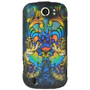 HTC Case, Slim Designed Hard Shell Snap On Protective Case Impact Defender Cover for HTC myTouch 4G Slide - Rainbow Lion Sculpture ()