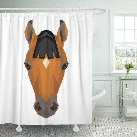 PKNMT Brown Geometric Simple Geometry Horse Portrait Farm Animal Zoo White Polygon Black Bathroom Shower Curtain 66x72