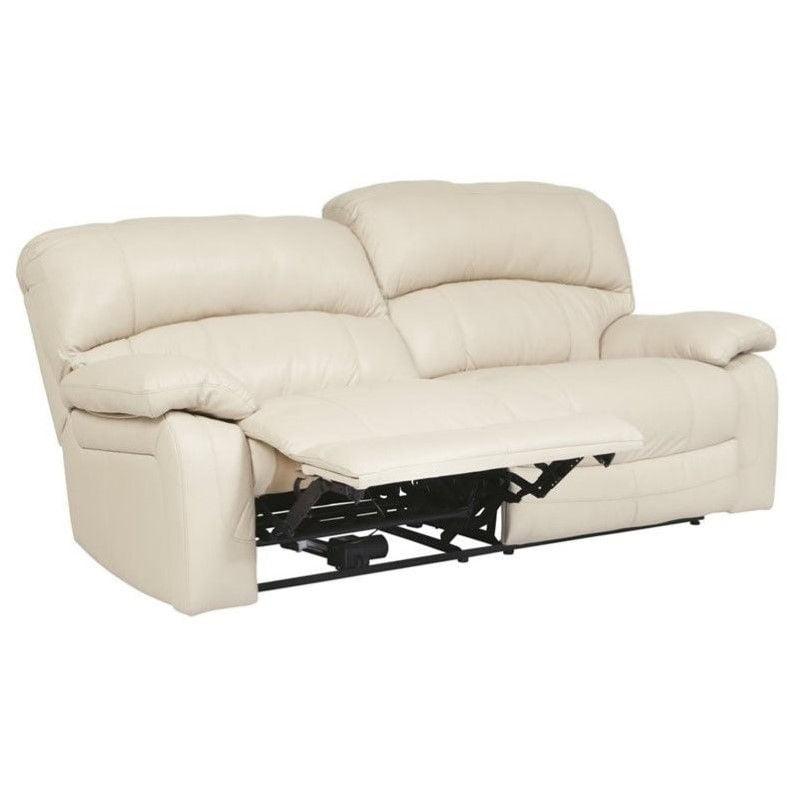 Ashley Damacio Leather 2 Seat Power Reclining Sofa in Cream