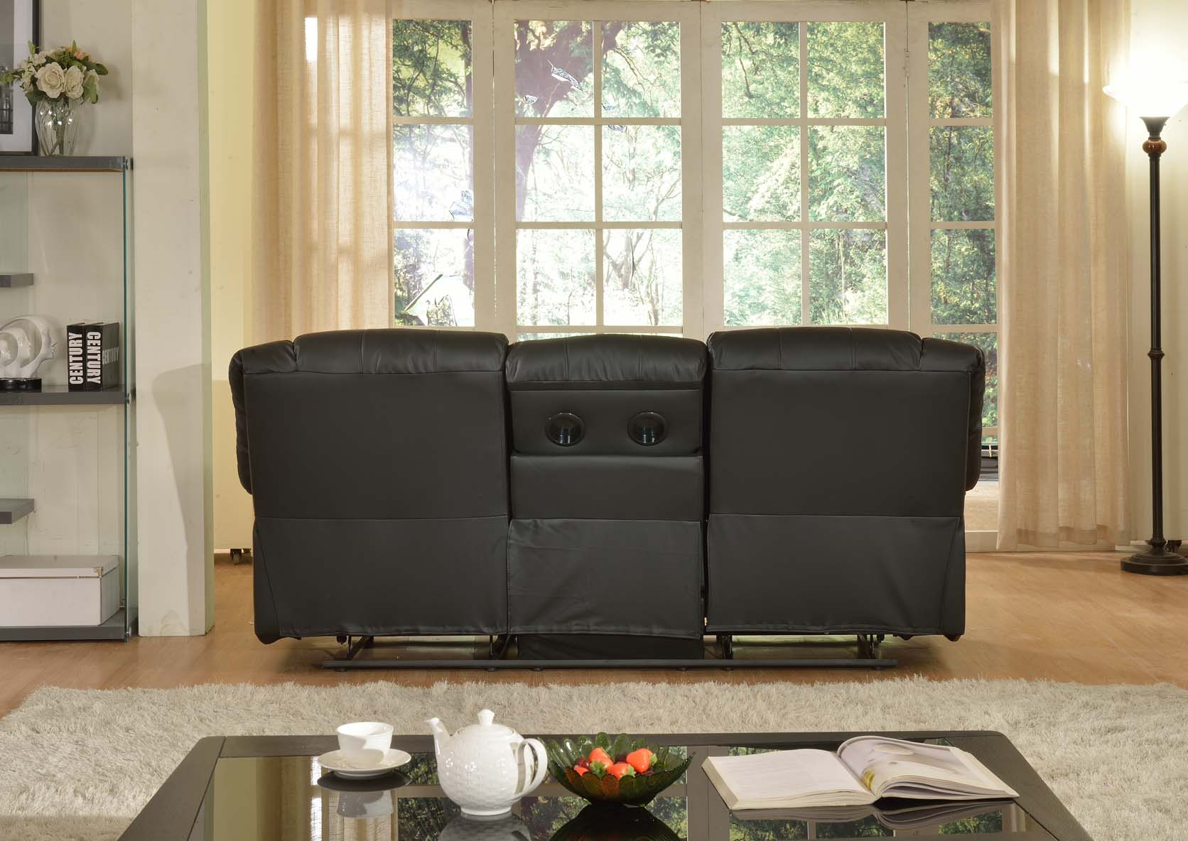 Layla Black Faux Leather Reclining Sofa With Drop Down Tea Table