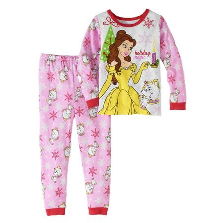 Disney Toddler Girls Beauty & the Beast Christmas Sleep Set Belle Pajamas