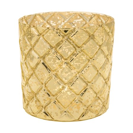 Vintage Mercury Glass Candle Holder (4.5-Inch, Large Andrea Design, Gold) - For Use with Tea Lights - For Home Decor, Parties, and Wedding Decorations ()