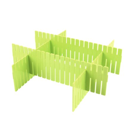 Home Storage Plastic Drawer Closet Grid Divider Clapboard Container 4pcs Green Plastic Storage Dividers