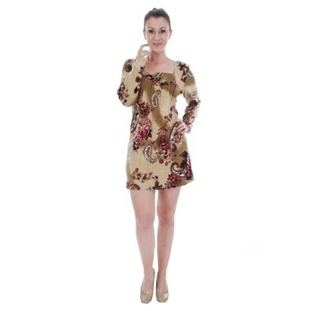 Women's Taupe Flower Paisley Square Neck Pleated Sweater Dress Pleated Silk Sweater Dress