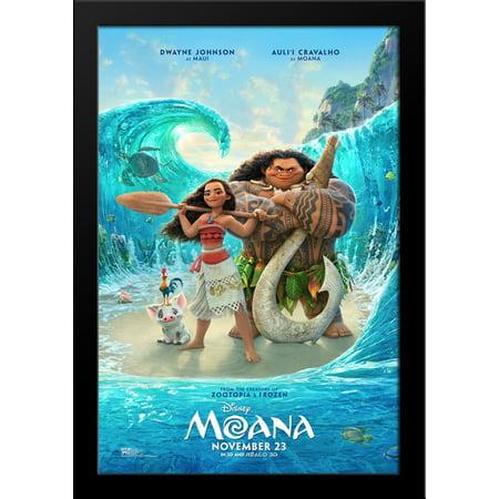 Moana 28X36 Large Black Wood Framed Movie Poster Art Print