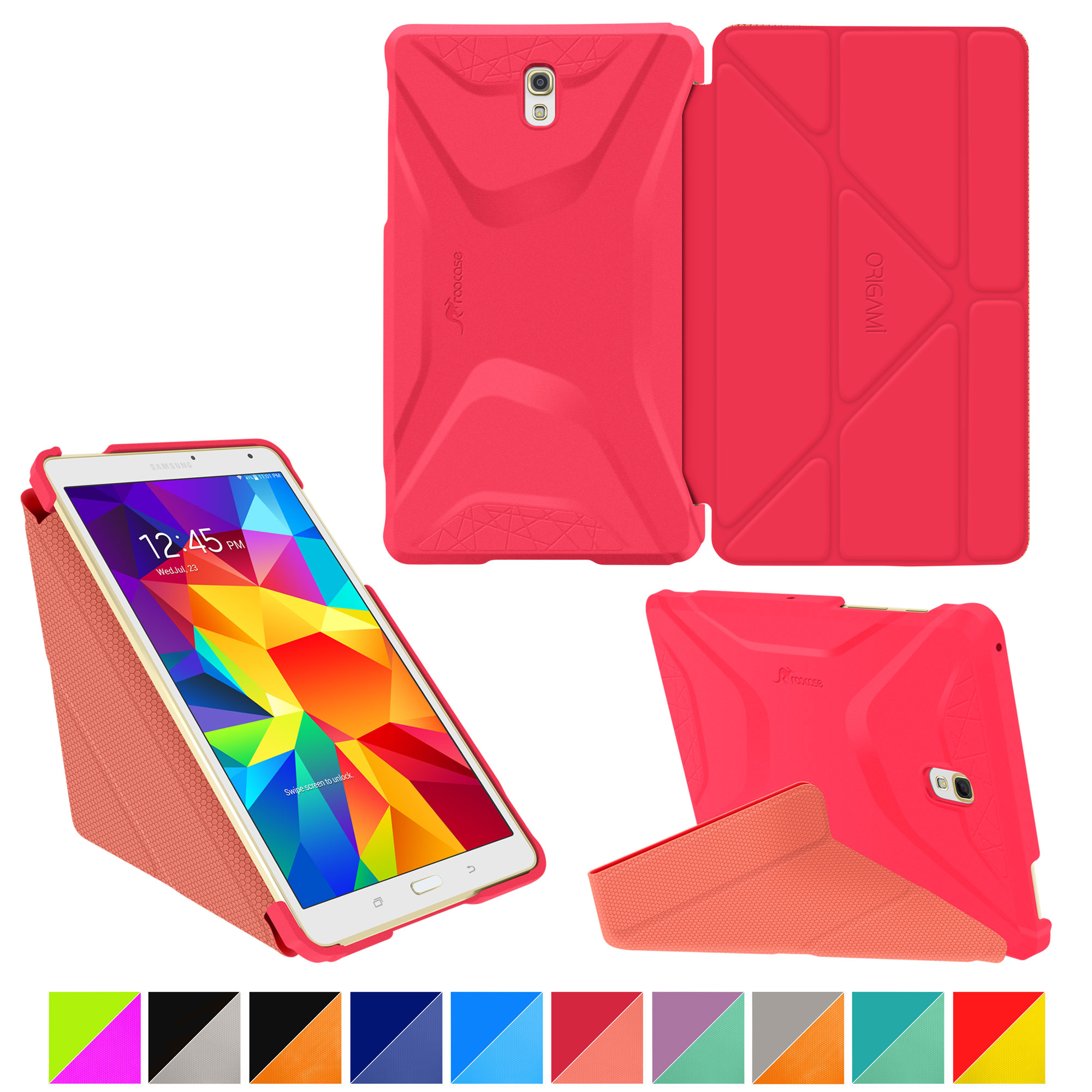 Galaxy Tab S 8.4 Case, Samsung Galaxy Tab S 8.4 case, rooCASE Origami (3 Way Stand) Slim Shell Lightweight Tablet Folio Smart Cover Pink