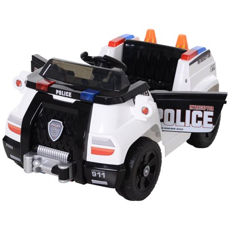 Aosom 6V Electric Battery Powered Ride-On Police Car Vehicle for Kids with Remote Control, Music, Lights, and Siren