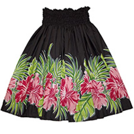 Hawaiian Pa'u Hula Skirt Hawaii Print Flower For womens, Black with Red flower