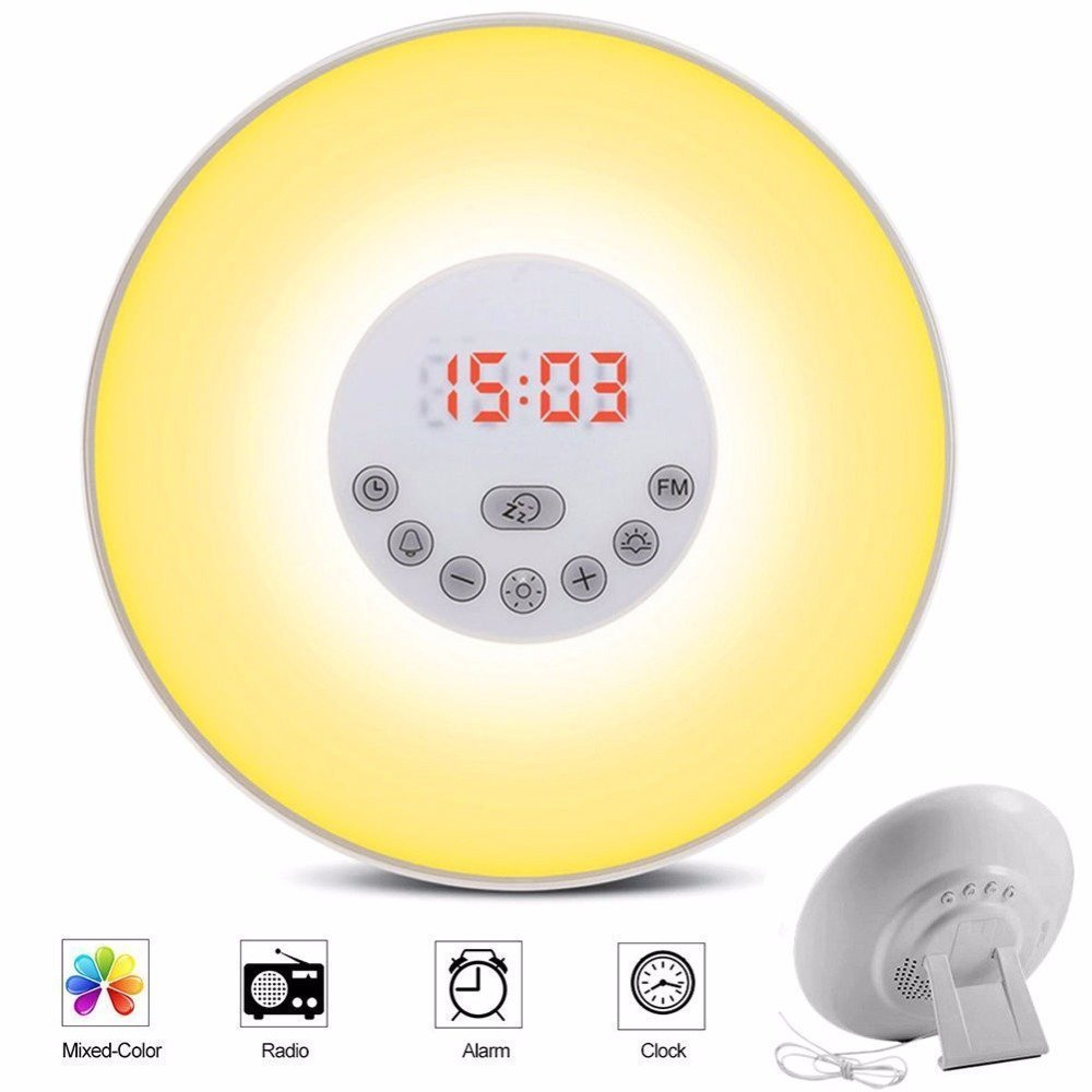 Sunrise Alarm Clock,Wake Up Light Sunrise Simulator Daylight Alarm Clock for Heavy Sleepers, with 7 Colors, FM Radio, Nature Sounds, Snooze Function and Touch Control