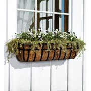 English Hay Basket Window Planter with Coco Liner & Brackets