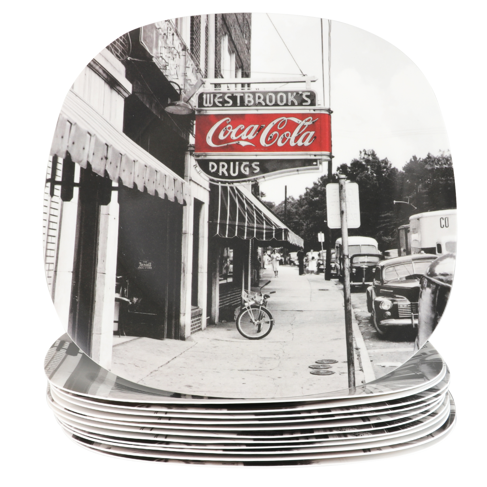 "Coca-Cola Coke Noir 10.5"" Melamine Dinner Plate Set, Set of 12"