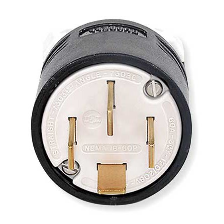 4 Wire Industrial Straight Blade Plug 120 208VAC 60A HUBBELL WIRING DE