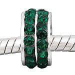 Buckets of Beads Round Birthstone Rhinestone Charm Bead, Emerald