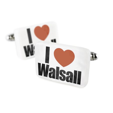 Cufflinks I Love Walsall West Midlands, EnglandPorcelain Ceramic NEONBLOND