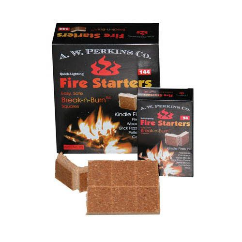 8 Pack Break 'n' Burn Non-Toxic Fire Starter Box of 144 Squares by