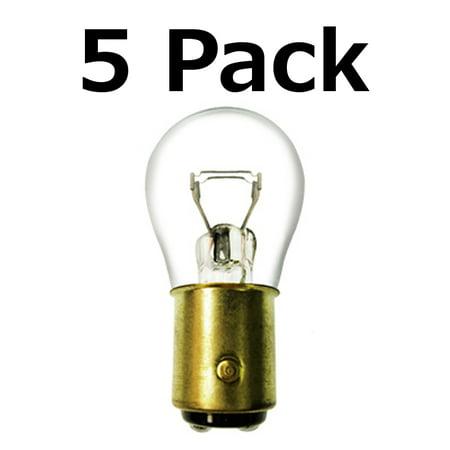 Box of 5 #1157 Lamp Auto Bulb Automotive Lightbulb Brass Dual Filament BAY15d