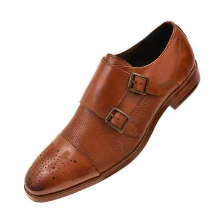 (Asher Green Mens Dress Shoes, Genuine Calf Leather Cap Toe, Double Monk Strap,Style AG1101)