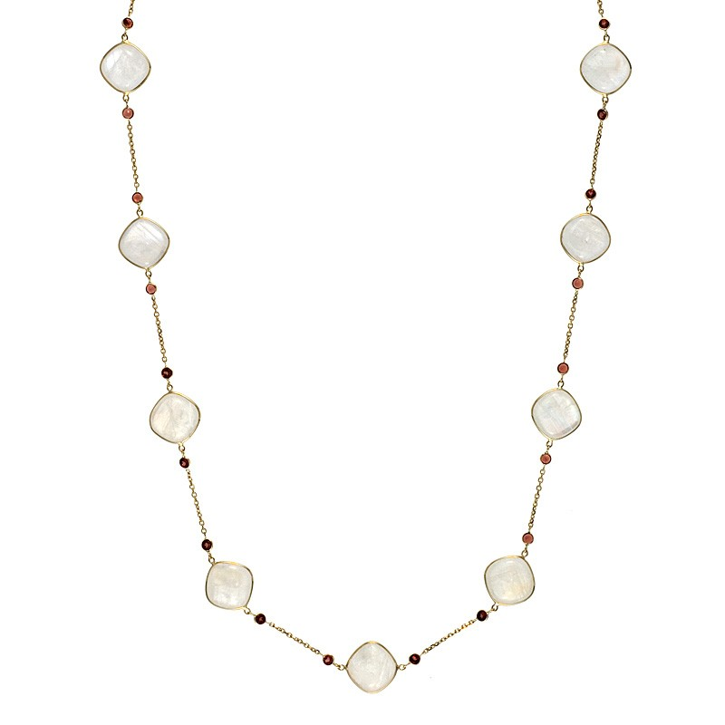 14k Yellow Gold Moonstone and Garnet Necklace Length: 18 to 34 by