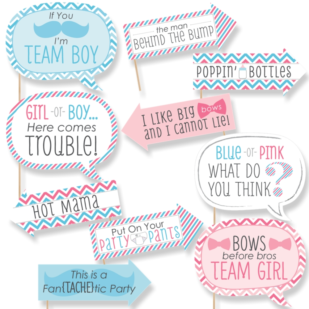 Funny Chevron Gender Reveal Baby Shower Photo Booth Props Kit 10